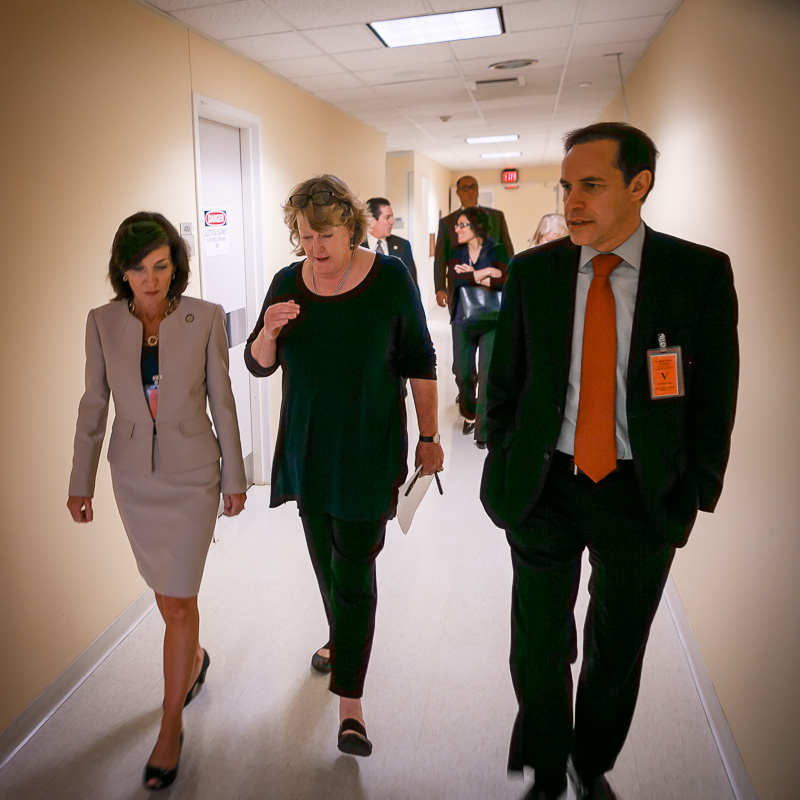 NYS Lieutenant Governor Kathy Hochul, Wadsworth Director Dr.  Jill Taylor and Health Commissioner Dr. Howard Zucker