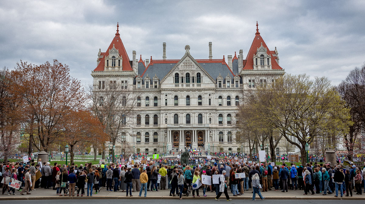 Wadsworth Center scientists at the Albany March for Science at the New York State Capitol
