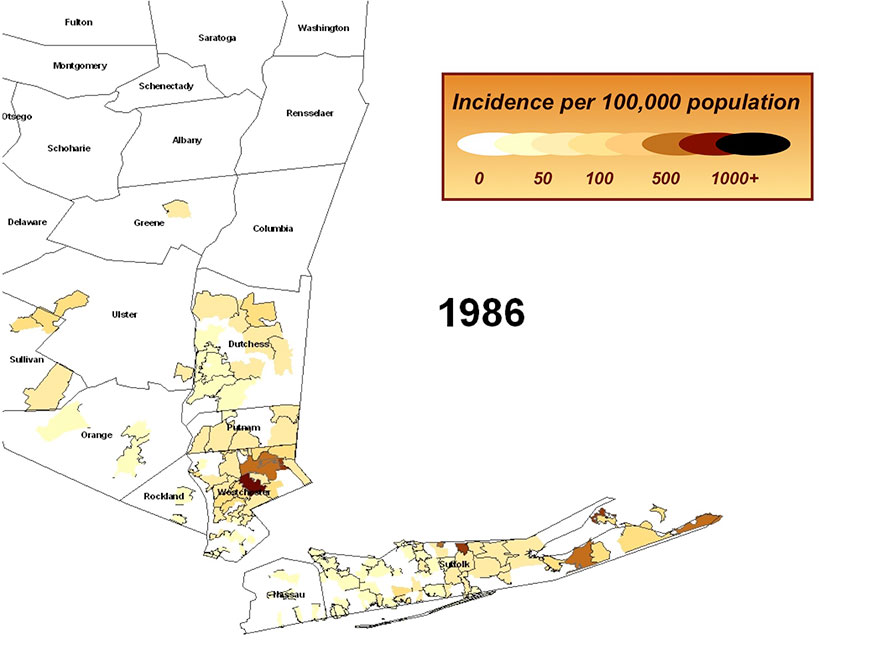 Incidence of Lyme Disease per 100,000 population in 1986 to 2005