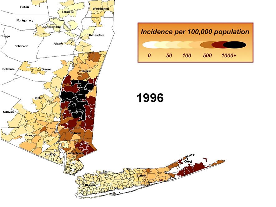 Incidence of Lyme Disease per 100,000 population in 1996