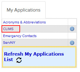 Select the 'CLIMS' application from the Applications list.