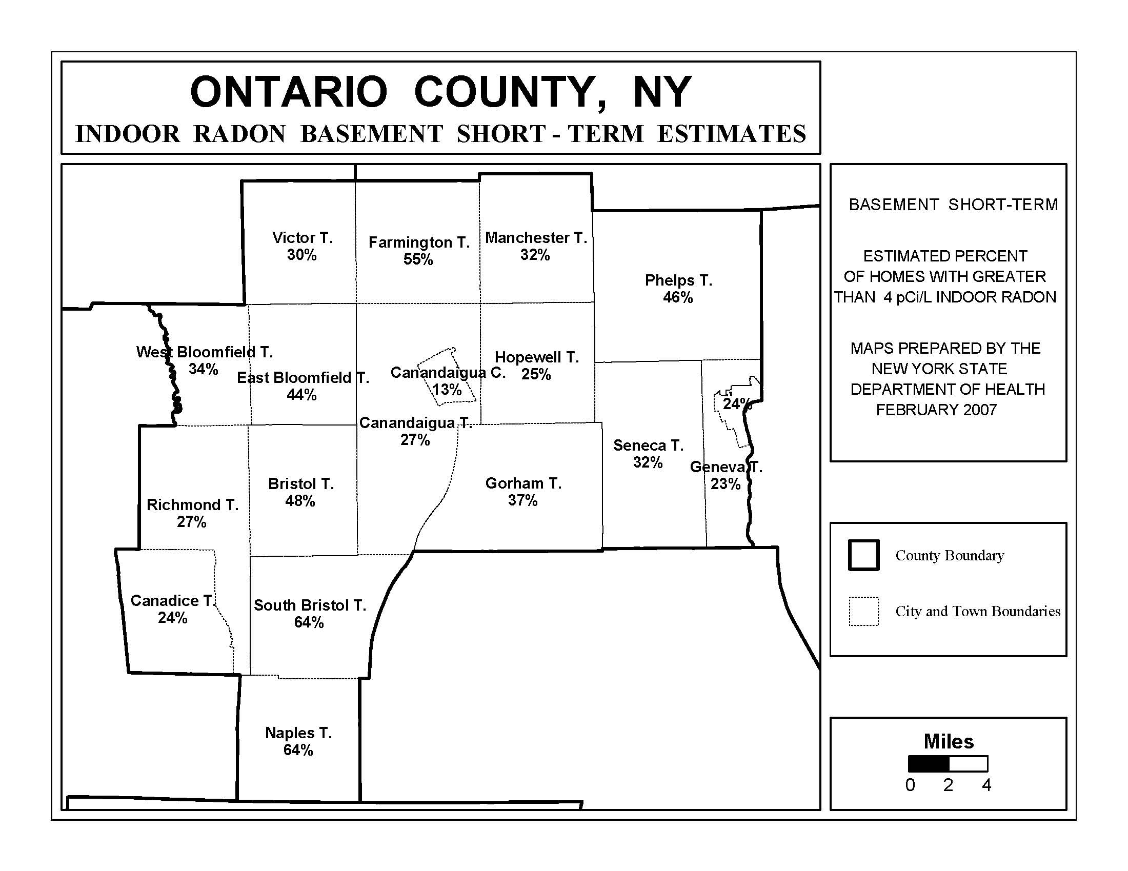 Radon New York State Department Of Health Wadsworth Center - Ny county map