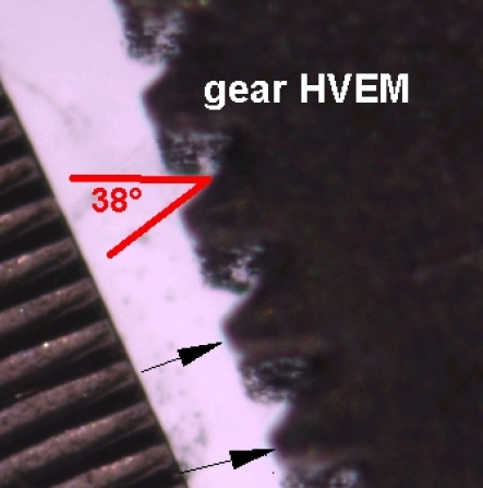 Image of a small gear, demonstrating both annotation and measurement capabilities of the software